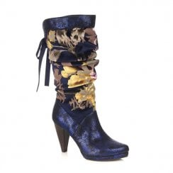 Ruby Shoo Athena High Heeled Floral Long Calf Boots - Navy