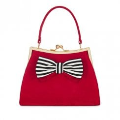 Ruby Shoo Logan Cute Bow Trim Handbag - Red