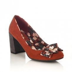 Ruby Shoo Pandora Suede Chunky Heel Shoes - Rust
