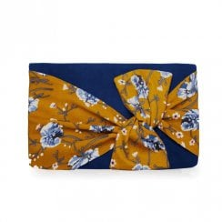 Ruby Shoo Hobart Twisted Bow Clutch Bag - Navy/Yellow
