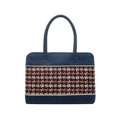 Ruby Shoo Tulsa Tweed Suede Handbag - Navy/Multi
