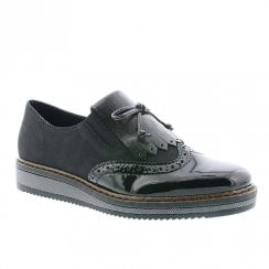Rieker Ladies Brogues Style Shoes - Black