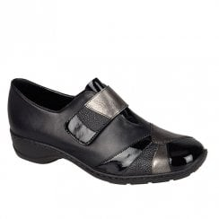 Rieker Womens Luxor Velcro Style Shoes - Black