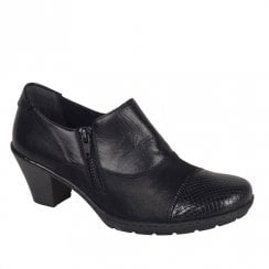 Rieker Ladies Heeled Side Zip Low Ankle Boots - Black