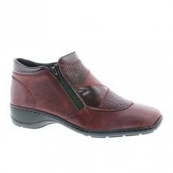 Rieker Ladies Wedge Heeled Ankle Boots - Burgundy