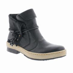 Rieker Ladies Low Block Heel Ankle Boots - Black