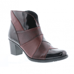 Rieker Ladies Zip Mid Block Heel Ankle Boots - Black & Burgundy