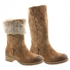 Rieker Ladies Zip Low Block Heel Long Calf Boots - Tan