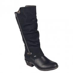 Rieker Ladies Zip Low Block Heel Long Calf Boots - Black