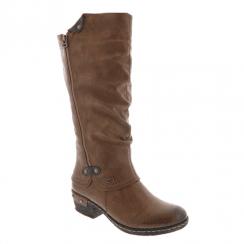 Rieker Ladies Zip Low Block Heel Long Calf Boots - Brown
