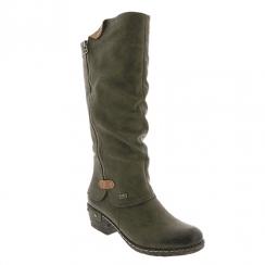 Rieker Ladies Zip Low Block Heel Long Calf Boots - Olive