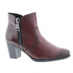 Rieker Ladies Zip Low Block Heel Ankle Shoes - Burgundy
