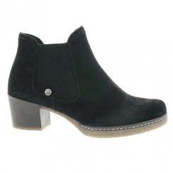 Rieker Ladies Zip Low Block Heel Ankle Shoes - Black