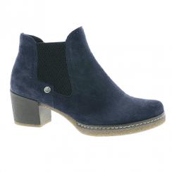Rieker Ladies Low Block Heel Ankle Boots - Navy