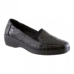 Propet Womens Propet Low Wedge Casual - Black Croc/Patent