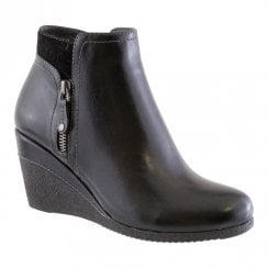 Susst Womens Wedge Ankle Boots - Black