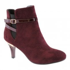 Susst Womens Fashion Heel Ankle Boots - Burgundy