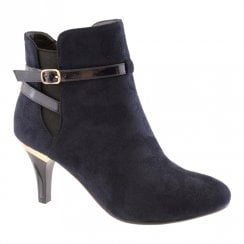 Susst Womens Fashion Heel Ankle Boots - Navy