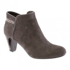 Susst Womens Gem Diamonte Trim Ankle Boots - Grey
