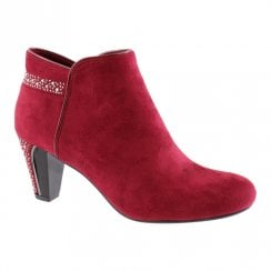 Susst Womens Gem Diamonte Trim Ankle Boots - Burgundy/Red