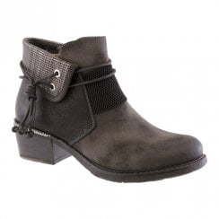 Susst Womens Ivy Rope Trim Ankle Boots - Black