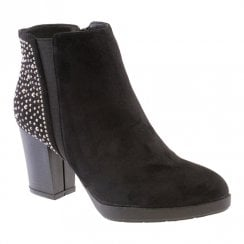 Susst Womens Block Heel Diamonte Ankle Boots - Black