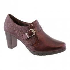 Susst Womens Mid Block Heel Buckle Trim Boots - Burgundy