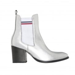 Tommy Hilfiger Sock Shiny Mid Heel Chelsea Boots - Silver
