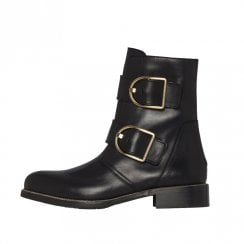 Tommy Hilfiger Oversized Buckle Flat Boots - Black