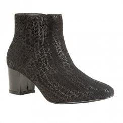Lotus Flute Mid Block Heel Ankle Zip Boots - Black