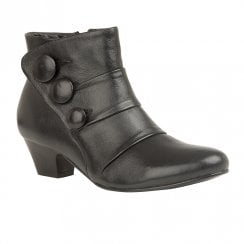 Lotus Stride Low Block Heel Ankle Zip Boots - Black