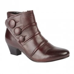 Lotus Stride Low Block Heel Ankle Zip Boots - Bordo