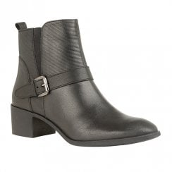 Lotus Indus Low Block Heel Ankle Zip Boots - Black