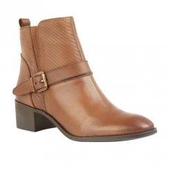 Lotus Indus Low Block Heel Ankle Zip Boots - Tan