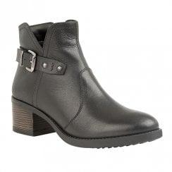 Lotus Tapti Low Block Heel Ankle Zip Boots - Black