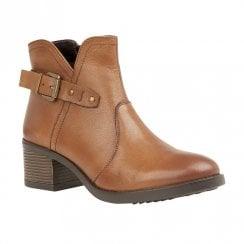 Lotus Tapti Low Block Heel Ankle Zip Boots - Tan
