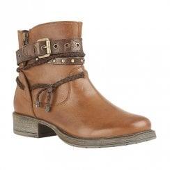 Lotus Mallegan Low Block Heel Ankle Zip Boots - Tan