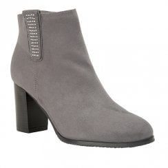Lotus Jenolan Mid Block Heel Ankle Zip Boots - Grey