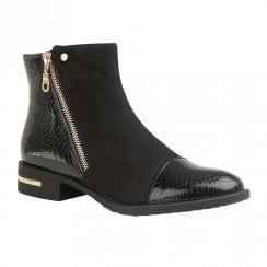 Lotus Coppice Low Block Heel Ankle Zip Boots - Black