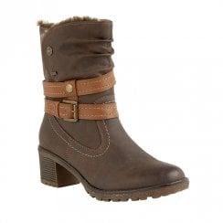Lotus Sambar Mid Block Heel Boots - Dark Brown