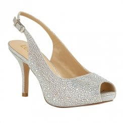 Lotus Astro Diamante Sling Back Peep Toe Heels - Silver