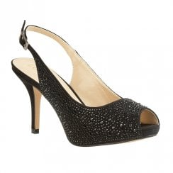 Lotus Astro Diamante Sling Back Peep Toe Heels - Black