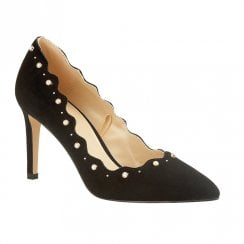 Lotus Popple Pearl Trim High Heeled Court Shoes - Black