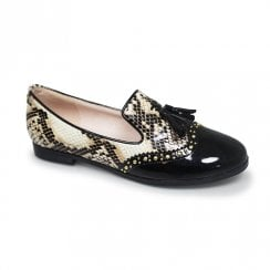 Lunar Womens Francine Snake Print Tassel Loafers Shoes - Black