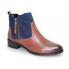 Lunar Libra Low Block Heel Leather Ankle Boots - Navy/Tan