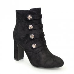 Lunar Campari Military Style High Heeled Ankle Boots - Black