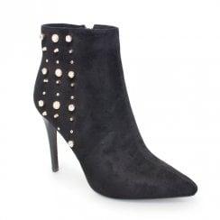 Lunar Livvy High Heeled Studded Ankle Boots - Black