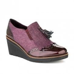 Pitillos Womens Wedge Heeled Brogue Shoes - Burgundy