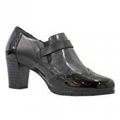 Pitillos Womens Mid Block Heeled Brogue Shoes - Black