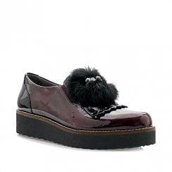 Pitillos Womens Flat Platform Slip On Derby Shoes - Burgundy/Black